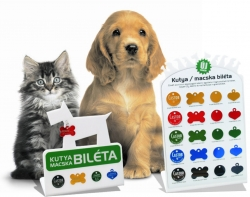 Kutya, macska biléta gravírozással
